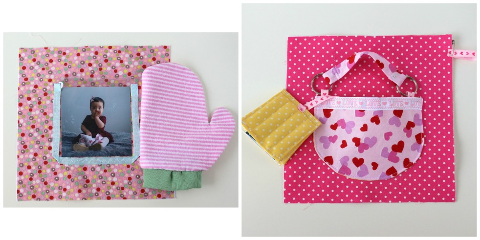 purse and photo album, and mitten peek-a-boo page by adventuresofourfamily.com
